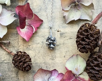Sterling silver Pine cone pendant, mini cone necklace, alder cone, birch cone pendant