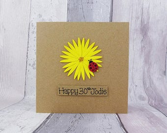 Gerbera Daisy birthday card, Ladybird birthday card, Ladybug card, Handmade Happy Birthday card, Floral birthday card, Birthday card for her
