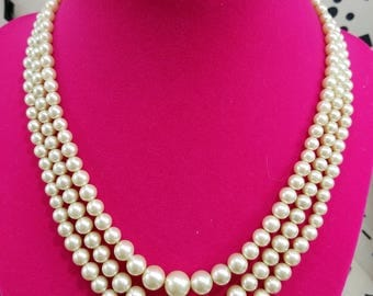 Elegant Triple Strand of Faux Pearls with Beautiful Silver Tone Bow Clasp