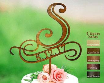 Letter s cake topper, rustic monogram cake topper, letter wedding cake topper, Wooden Cake Topper, cake topper s, Cake topper date, CT#152