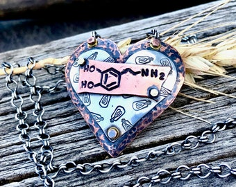 Love, Life, Cognition and Disease - The Dopamine Molecule Heart Necklace