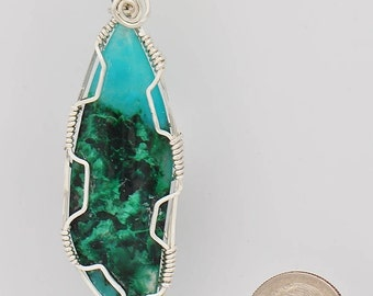 Blue and Green Gem Silica Chrysocolla Wrapped in  Sterling Silver Wire