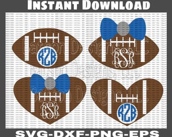 Football Heart Football With Bow Monogram Frames Instant Download for Cutting Machines *Fonts Shown Not Included*   SVG Eps Dxf Png