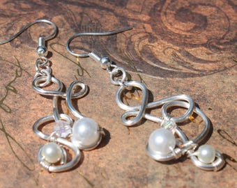 Pearl Earrings with Silver Swirls and Crystals