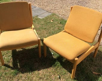 Vintage Ercol Lounge Chairs x2 -Pair of Retro Easy Chairs -Ercol 772 -Light Beech Wood- Mid Century -Yellow Fabric-