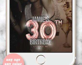 Rose Gold Snapchat Filter * Rose Gold Balloons, 30 Gold Balloons, Gold Birthday Geofilter, Snapchat 30th birthday for her, 21st bday filter