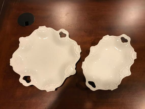 Rare pair of matching vintage AK Kaiser white porcelain handled scalloped embossed serving plates/trays/platters