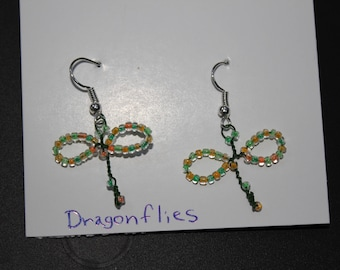 Wire Dragon Fly Earrings, Multicolored 4 Different color combinations.