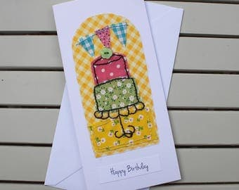 Birthday Card - Handmade - Hand Sewn Fabric - Birthday Cake - Happy Birthday