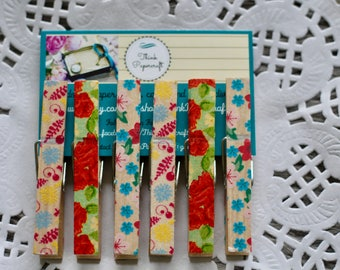6 wooden clothes peg set, floral pegs, wooden pegs, with a flower pattern  clothespins. House-warming, Mother's Day gift set