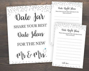 Silver Confetti Date Night Ideas, Date Night Cards Sign Printable, Wedding Date Ideas, Bridal Shower Games, Silver Bridal Shower, SCB3
