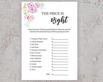 Price is Right, Bridal Shower Game, Pink Floral Bridal Shower Game, Printable Games, Wedding Shower,DIY Bridal Shower,Instant Download,J010