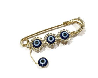 Crystal Evil Eye Pin Stroller pin Evil Eye Baby Pin Evil Eye Safety Pin Baby Shower Gift Evil Eye Stroller Pin Evil Eye Newborn Pin