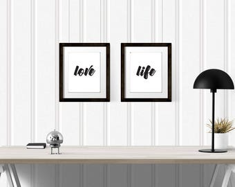 Love life, Printable Wall Art set, Black and white quote, Wall decor set