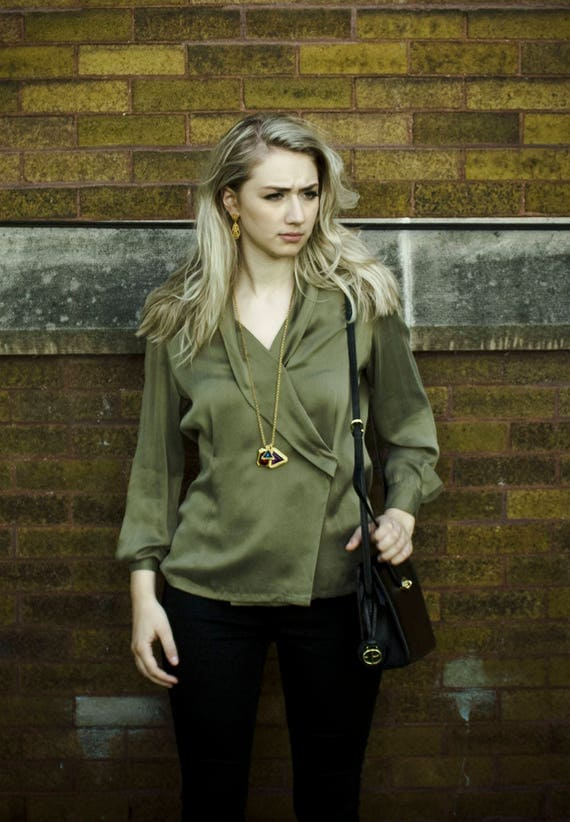 Olive Silk Blouse