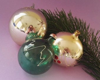 3 big Christmas tree glass balls. Old  New Year decorations Baubles. Xmas ornaments