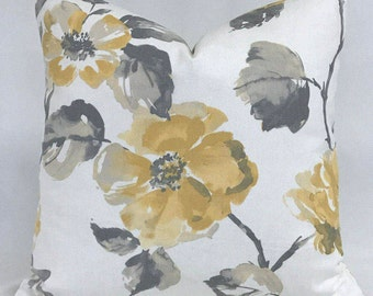 Pillow Cover - Watercolor Floral - Modern Floral -  Gray and Yellow - Fully lined - invisible Zipper