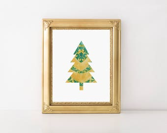 Christmas Tree Printable-Christmas Tree Art-Pine Tree Art-Green Gold Christmas Tree-Conifer Print-Ornate Christmas Tree-Christmas Wall Art