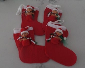Troll Christmas Stockings. 6 inches long. Set of 4.