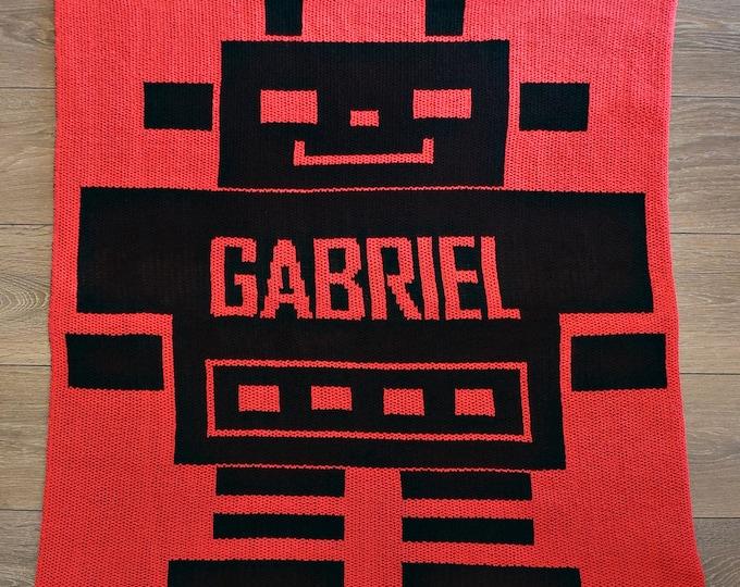 Robot Custom Knit Baby & Stroller Blanket