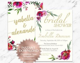 Burgundy Rose Floral Boho Bridal Shower Invitation Template