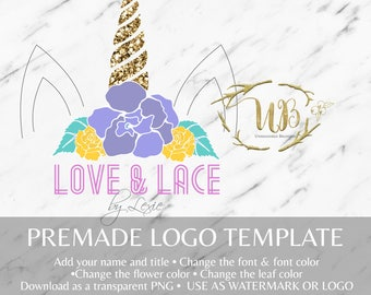 Bright Floral and Gold Glitter Unicorn Watermark/Logo