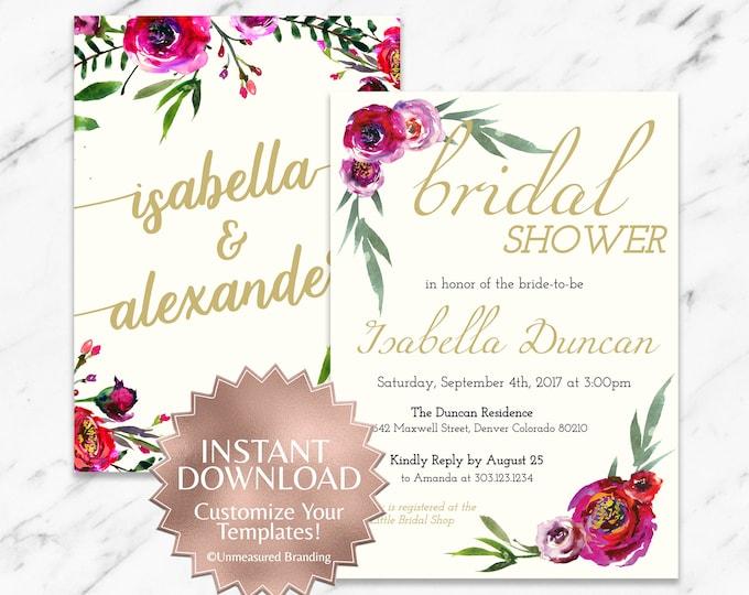 Featured listing image: Burgundy Rose Floral Boho Bridal Shower Invitation Template
