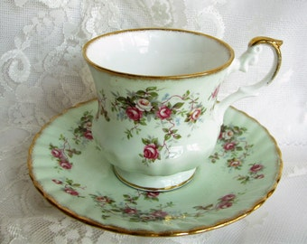 Rosina cup Mint cup Roses cup Green kitchen decor Garden tea set  gift for collector Cup collection Shabby decor Country decor Tea service