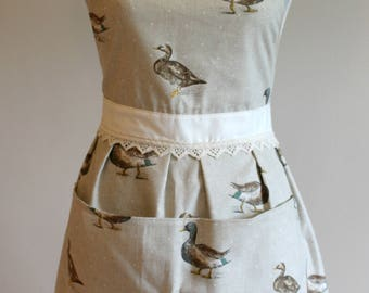 Cute Fitted Apron (Polka Dot, Duck, Rose Fabric)