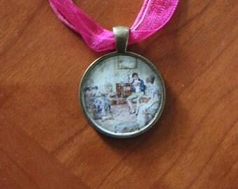 "Jane Austen 17"" necklace pendant on silky ribbon"
