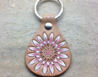 Leather handmade keyfob flower