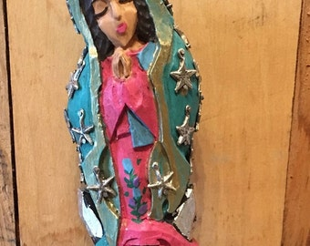 Virgin de Guadalupe/ Milagro Guadalupe / Wood Guadalupe Milagro Decorated / Folk Art Guadalupe