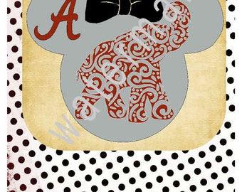 Alabama SVG - Group Disney vacation shirts - Disney svg - silhouette cameo cricut  JPEG t shirt transfer Minnie ears Disney Bama Roll Tide