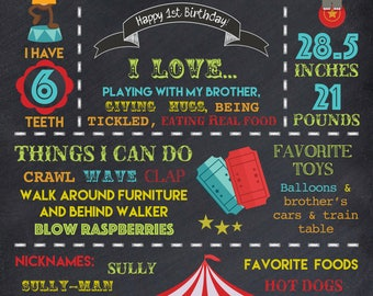 """Circus Themed Year in Review - Birthday - 16x20"""" Poster - Sign - DIGITAL FILE ONLY"""