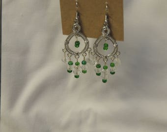 Green and Clear Bead Chandelier Earrings