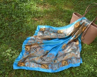 Blue Foulard, Silk Scarves, Turquoise Foulard, Colored Scarf, Vintage Style Scarf, Accessories, Gift for Her, Gift Ideas.