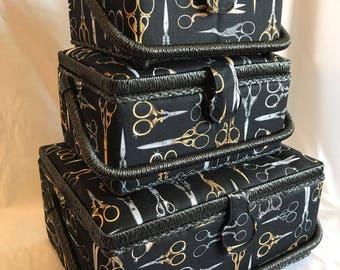 Luxury Sewing Basket Box Black Vintage Scissors Pattern - 3 Sizes - Craft Box Storage Case Gift