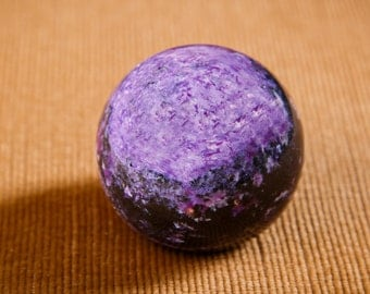 AUTHENTIC Charoite Sphere 5 cm (1.97 inch) Ball Polished Stone EMF protection Original Polished Protection Healing Karelia