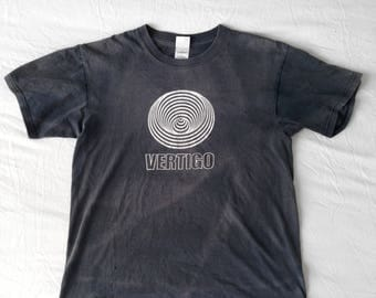 SUPER RARE Mens Vintage: Authentic Vertigo Records Black Faded T-Shirt
