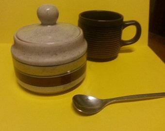 Retro Stoneware Japanese Sugar Bowl / Vintage Yamato Ceramic Sugar Bowl