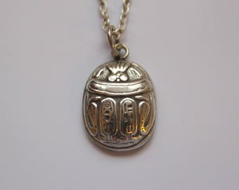 Vintage Egyptian Scarab Necklace Pendant, Egyptian Scarab Beetle Pendant