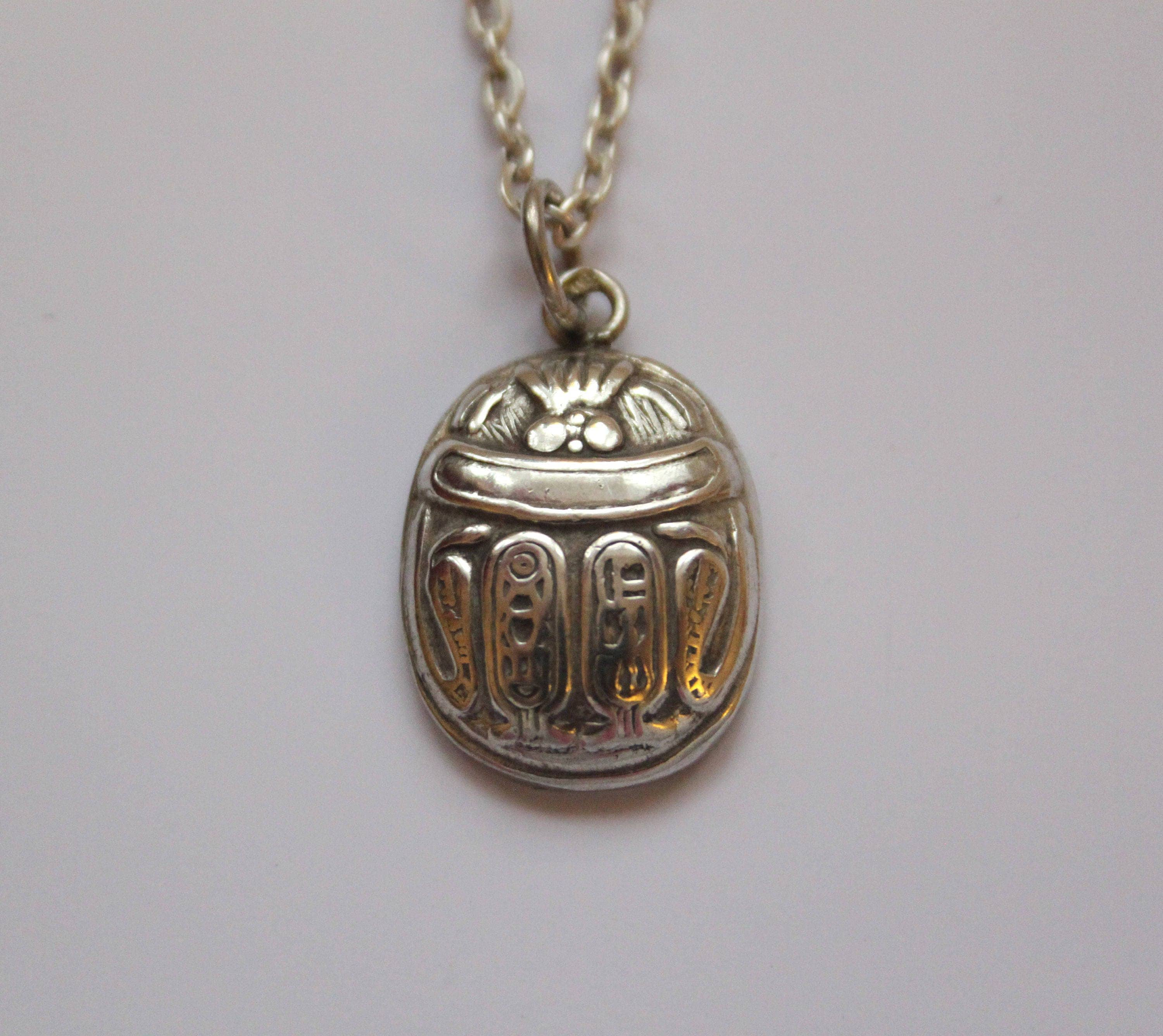Vintage sterling silver scarab necklace pendant egyptian scarab vintage sterling silver scarab necklace pendant egyptian scarab beetle pendant aloadofball Choice Image