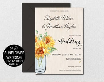 Wedding Floral Invitation Template - Sunflower Mason Jar Wedding Invite 5 Piece-DIY Printable Invitations-PDF-Download Instantly | VRD151AWJ
