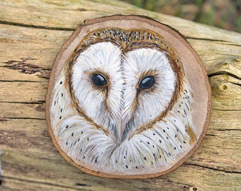 Barn owl original painting, wood slice art, owl painting, British bird art, painting on wood, British wildlife art, animal artist