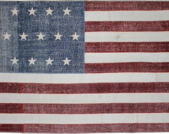 "American Flag Handknotted Rug, FREE SHIPPING 10 x 7'9"" ft"