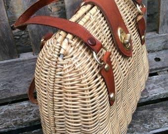 Cute Vintage Fifties Mini Wicker Handbag ... vintage 1950's 50's