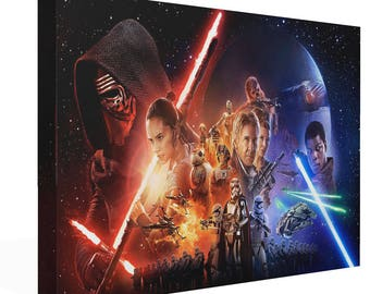 Star Wars Force Awakens Canvas Print Wall Art Premium Han Solo Luke Skywalker Rey Finn Picture Photo Poster