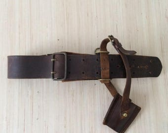 WWI British Sam Browne Officer's Leather Belt with Sword Frog / Military / Canada / Canadian