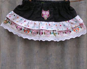 Girls skirt, gathered skirt, demin skirt, ruffle skirt, party skirt, birthday, colour skirt, owl skirt, lace skirt. baby skirt
