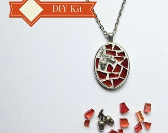 DIY Holiday GIft, Teenage Girl Gift, Pendant Necklace Kit, Do It Yourself Craft Kit, DIY Stocking Stuffers, Glass Mosaic Crafting Fun
